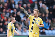 Millwall FC defender Byron Webster (17) scores a goal and celebrates to make the score 0-1 during the Sky Bet League 1 match between Coventry City and Millwall at the Ricoh Arena, Coventry, England on 16 April 2016. Photo by Simon Davies.
