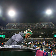 March 18, 2016, Palm Springs, CA:<br /> Victoria Azarenka is introduced before the women's semi-final match against Karolina Pliskova during the 2016 BNP Paribas Open at the Indian Wells Tennis Garden in Indian Wells, California Friday, March 18, 2016.<br /> (Photos by Billie Weiss/BNP Paribas Open)