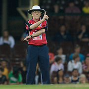 Umpire Sir Michael Parkinson gives a run out decision during Australia's Big Bash Cricket match to raise money for the Victorian Bushfire Appeal at the Sydney Cricket Ground, Sydney, Australia on February 22, 2009. The match was attended by over 20,000 spectators.  Photo Tim Clayton
