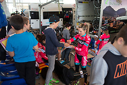 Margarita Victoria Garcia (ESP) of Bizkaia-Durango Cycling Team gives a young fan an autograph before Stage 3 of the Emakumeen Bira - a 77.6 km road race, starting and finishing in Antzuola on May 19, 2017, in Basque Country, Spain. (Photo by Balint Hamvas/Velofocus)