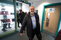 © Licensed to London News Pictures . 22/03/2018. Manchester, UK. JEREMY CORBYN arrives . Jeremy Corbyn and Shadow Cabinet members launch the Labour Party's local election campaign at Stretford Sports Village in Trafford . Photo credit: Joel Goodman/LNP