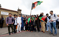 Afghanistan cricket fans arrive at the North Gate of Lord's Cricket Ground to attend the one day match at Lord's, London.