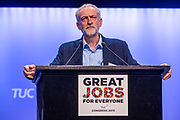 Jeremy Corbyn MP, Labour leader at the the TUC Congress 2015, Brighton. UK