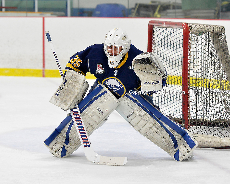GEORGETOWN, ON - Feb 28, 2015 : Ontario Junior Hockey League game action between the Georgetown Raiders and the Buffalo Jr. Sabres.  Game three of the best of seven series. Nate Skidmore #35 of the Buffalo Junior Sabres during the third period.<br /> (Photo by Shawn Muir / OJHL Images)