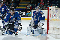 KELOWNA, CANADA -FEBRUARY 8: Coleman Vollrath #35 of the Victoria Royals scuffs up the ice against the Kelowna Rockets  on February 8, 2014 at Prospera Place in Kelowna, British Columbia, Canada.   (Photo by Marissa Baecker/Getty Images)  *** Local Caption *** Coleman Vollrath;