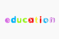 Education' spelled with colorful alphabet magnets over white background