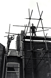 Scaffolding on house, Nottingham UK 1985