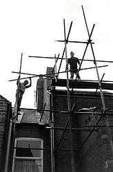 Scaffolding on house, Nottingham UK 1985