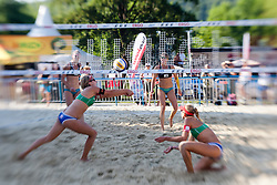 "Tanja Goricanec and Muriel Graessli of Switzerland vs Natalie ""Nat"" Cook and Tamsin Hinchley of Australia at A1 Beach Volleyball Grand Slam presented by ERGO tournament of Swatch FIVB World Tour 2012, on July 18, 2012 in Klagenfurt, Austria. (Photo by Matic Klansek Velej / Sportida)"