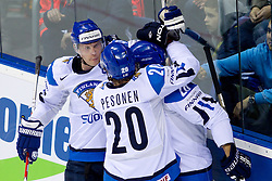 Mikko Koivu of Finland (L) celebrates with coplayers during ice-hockey match between Germany and Finland of Group E in Qualifying Round of IIHF 2011 World Championship Slovakia, on May 6, 2011 in Orange Arena, Bratislava, Slovakia. Finland defeated Germany 5-4 after overtime and shootout. (Photo By Vid Ponikvar / Sportida.com)