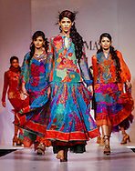 Modelsl display  creations by Indian designer Ritu Kumar during the Lakme India Fashion Week in New Delhi, India, Wednesday, April 20, 2005. (AP Photo/Sebastian John)