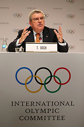 LIMA, Sept. 16, 2017  International Olympic Committee (IOC) President Thomas Bach attends a press conference after the 131st IOC session in Lima, Peru, on Sept. 15, 2017. The 131st IOC session concluded on Friday. (Credit Image: © Li Ming/Xinhua via ZUMA Wire)