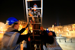 UK ENGLAND LONDON 18APR16 - Greenpeace activists climb Nelson's Column at 4am to demand action on air pollution. Alison Garrigan (29) and Luke Jones (30) fit the statue of Admiral Lord Nelson, towering 52 metres above Trafalgar Square, with an emergency face mask. <br /> <br /> <br /> <br /> jre/Photo by Jiri Rezac<br /> <br /> / Greenpeace<br /> <br /> © Jiri Rezac 2016