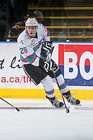 KELOWNA, CANADA - FEBRUARY 27: Cole Linaker #26 of Kelowna Rockets skates behind the net with the puck against the Spokane Chiefs on February 27, 2016 at Prospera Place in Kelowna, British Columbia, Canada.  (Photo by Marissa Baecker/Shoot the Breeze)  *** Local Caption *** Cole Linaker;