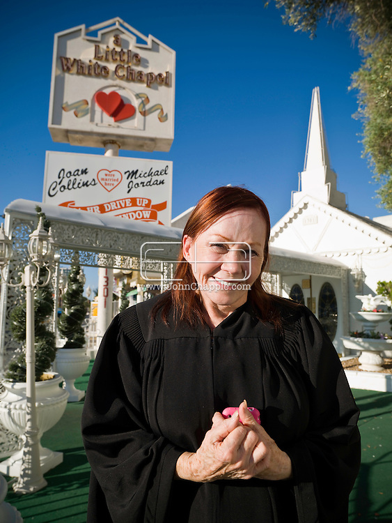 5th June 2010. Las Vegas, Nevada. Known around the world as one of the most Famous places to be married, The Little White Wedding Chapel in Las Vegas has wed stars from Britney Spears to Judy Garland. Pictured is Charolette (corr) Richards. Miss Charolette, as she is known to her loyal staff, has owned the chapel for 51 years and performed over 800,000 ceremonies. PHOTO © JOHN CHAPPLE / www.chapple.biz.john@chapple.biz  (001) 310 570 9100.