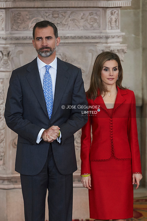 King Felipe VI of Spain and Queen Letizia of Spain attend the Delivery of the National Research Awards 2014 at Palacio Real on January 15, 2015 in Madrid