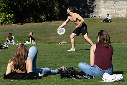 © Licensed to London News Pictures . 13/09/2019. Bournemouth, UK. People sunbathe in Bournemouth Central Park as a late summer heatwave brings high temperatures to the south coast of England . Photo credit: Joel Goodman/LNP