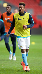 LIVERPOOL, ENGLAND - Sunday, February 7, 2016: Manchester City's Ashley Smith-Brown warms-up before the Under-21 FA Premier League match against Liverpool at Anfield. (Pic by David Rawcliffe/Propaganda)