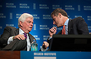 Christopher Dodd, left, Chairman and CEO, Motion Picture Association of America; Former U.S. Senator, and Robert Shafir, Head, Private Banking and Wealth Management, and CEO, Americas Region, Credit Suisse, in a panel during the Milken Institute Global Conference on Monday, April 28, 2014 in Beverly Hills, California. (Photo by Ringo Chiu/PHOTOFORMULA.com)