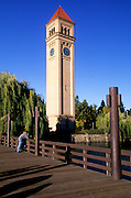 Image of Riverfront Park and the Great Northern Railway Depot Clock Tower along the Spokane River in Spokane, Washington, Pacific Northwest
