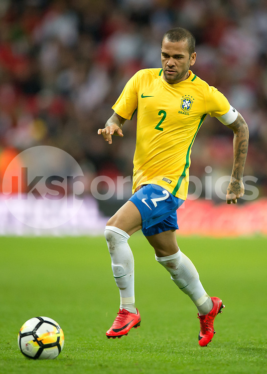 Dani Alves of Brazil in action during the International Friendly match between England and Brazil at Wembley Stadium, London, England on 14 November 2017. Photo by Vince Mignott.