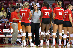28 AUG 2009: Coach Melissa Myers listens to Katie Seyller (27) during a time out. The Redbirds of Illinois State defeated the Runnin' Bulldogs of Gardner-Webb in 3 sets during play in the Redbird Classic on Doug Collins Court inside Redbird Arena in Normal Illinois