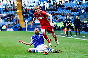 Swansea City midfielder Sam Clucas (17) skips the challenge of Sheffield Wednesday forward Atdhe Nuhiu (17)  during the The FA Cup match between Sheffield Wednesday and Swansea City at Hillsborough, Sheffield, England on 17 February 2018. Picture by Simon Davies.