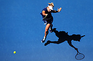 PERTH, AUSTRALIA - DECEMBER 31:  Daria Gavrilova of Australia plays a forehand to Eugenie Bouchard of Canada in her singles match on day 2 of the 2018 Hopman Cup at Perth Arena on December 31, 2017 in Perth, Australia.  (Photo by Paul Kane/Getty Images)