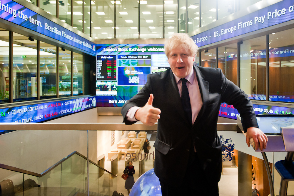 London, UK - 12 February 2013: The Mayor of London, Boris Johnson joins Xavier Rolet, CEO of London Stock Exchange Group to open the trading day, to encourage more science and technology companies to list in the capital.