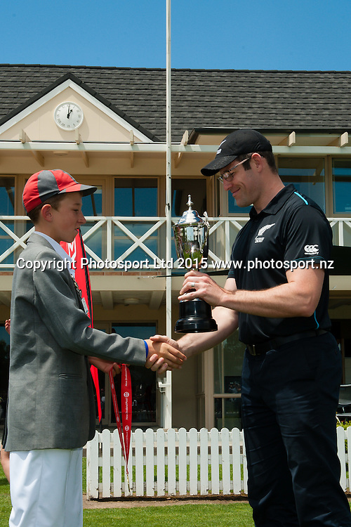 Captain of the of Medbury School team Zach May recieves the NZ Post Cup From Ed Shuttleworth during the New Zeland Post Cup Finals Cricket matches at Lincoln, Christchurch. 25th November 2015. Copyright Photo: John Davidson / www.photosport.nz