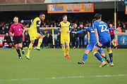 Oxford United striker Robbie Hall (19) scoring 0-1 during the EFL Sky Bet League 1 match between AFC Wimbledon and Oxford United at the Cherry Red Records Stadium, Kingston, England on 14 January 2017. Photo by Matthew Redman.