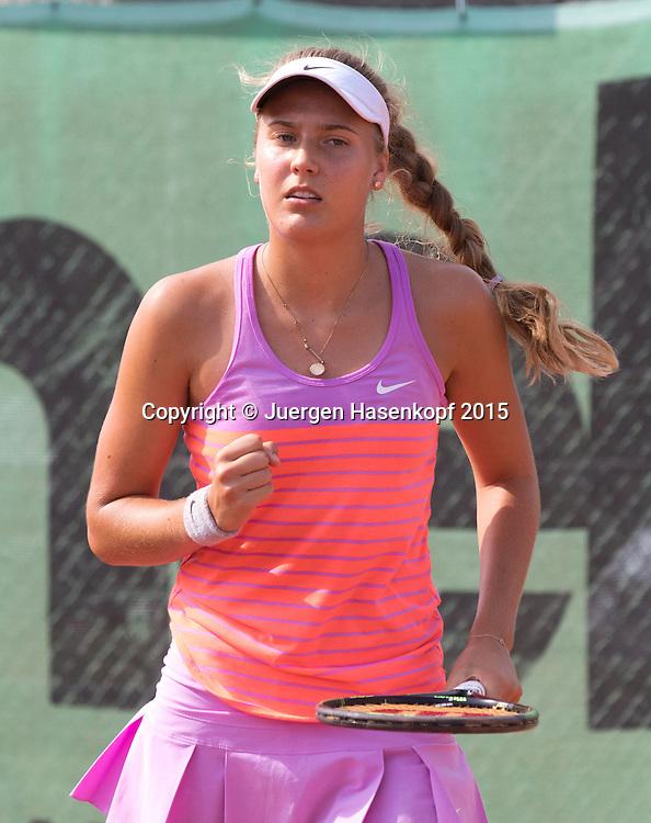 Antonia Lottner (GER) macht die Faust und jubelt nach ihrem Sieg,Jubel,Emotion,<br /> <br /> Tennis - Hechingen Ladies Open - ITF 25.000 -  TC Hechingen - Hechingen -  - Germany - 13 August 2015. <br /> &copy; Juergen Hasenkopf