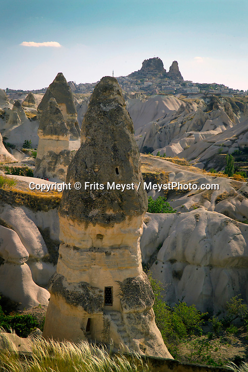 Goreme, Cappadocia, Turkey, July 2005. The views from the Chapel are stunning. Dutch Photographer Frits Meyst and his wife Jillian Macdonald restored an old rock house in the village of Goreme. Since Roman Times people have been cutting graves and home out of the Soft tufo 'Fairy Chmney' rocks of Cappadocia. Photo by Frits Meyst/Adventure4ever.com