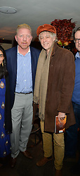 Left to right, ?, BORIS BECKER, SIR BOB GELDOF and ? at a reception to celebrate the publication of The Shadow of The Crescent Moon by Fatima Bhutto at the Belgraves Hotel, 20 Chesham Place, London, on 2nd December 2013.
