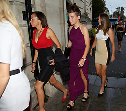 CARDIFF, WALES - Monday, October 5, 2015: Wales' Naomi Clipston, Angharad James and Loren Dykes arrive for the FAW Awards Dinner Dinner at Cardiff City Hall. (Pic by David Rawcliffe/Propaganda)