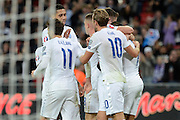 England striker Theo Walcott celebrates opening goal during the Group E UEFA European 2016 Qualifier match between England and Estonia at Wembley Stadium, London, England on 9 October 2015. Photo by Alan Franklin.
