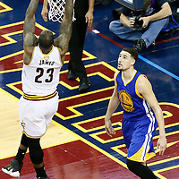 10 June 2016: Cleveland Cavaliers forward LeBron James (23) goes for the dunk in front of Golden State Warriors guard Klay Thompson (11) during the Golden State Warriors 108-97 victory over the Cleveland Cavaliers, during Game Four of the 2016 NBA Finals at the Quicken Loans Arena, Cleveland, Ohio, USA.