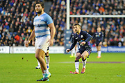 Greig Laidlaw wills his penalty over the posts during the Autumn Test match between Scotland and Argentina at Murrayfield, Edinburgh, Scotland on 24 November 2018.