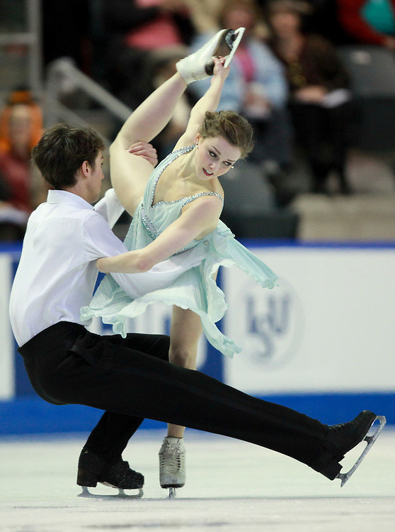 20101031 -- Kingston, Ontario -- Alexandra Paul and Mitchell Islam of Canada skate their free dance at Skate Canada International in Kingston, Ontario, Canada, October 30, 2010. <br /> AFP PHOTO/Geoff Robins