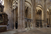 Chapel of Piety and the Holy Sepulchre, built late 14th century under the patronage of San Pau, in the Cathedral of St Mary, designed by Benito Dalguayre in Catalan Gothic style and begun 1347 on the site of a Romanesque cathedral, consecrated 1447 and completed in 1757, Tortosa, Catalonia, Spain. The cathedral has 3 naves with chapels between the buttresses and an ambulatory with radial chapels. Picture by Manuel Cohen