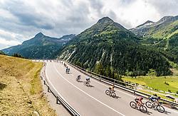 07.07.2017, St. Johann Alpendorf, AUT, Ö-Tour, Österreich Radrundfahrt 2017, 5. Kitzbühel - St. Johann/Alpendorf (212,5 km), im Bild das Peloton am Felbertauern, Stefan Denifl (AUT, Aqua Blue Sport, gelbes Trikot) // the Peloton at the Felbertauern Stefan Denifl of Austria (Aqua Blue Sport Yellow Jersey) during the 5th stage from Kitzbuehel - St. Johann/Alpendorf (212,5 km) of 2017 Tour of Austria. St. Johann Alpendorf, Austria on 2017/07/07. EXPA Pictures © 2017, PhotoCredit: EXPA/ JFK