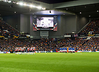 Football - 2019 / 2020 UEFA Europa League - Group G: Rangers vs. Feyenoord<br /> <br /> Teams pay tribute to Fernando Ricksen during a minute silence, at Ibrox.<br /> <br /> COLORSPORT/BRUCE WHITE