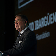 FEBRUARY 20, 2018--MIAMI, FLORIDA-<br /> Alberto Ibarguen, President and CEO of the Knight Foundation, introduces a speaker during the second day of  the Knight Media Forum 2018.<br /> (Photo by Angel Valentin)