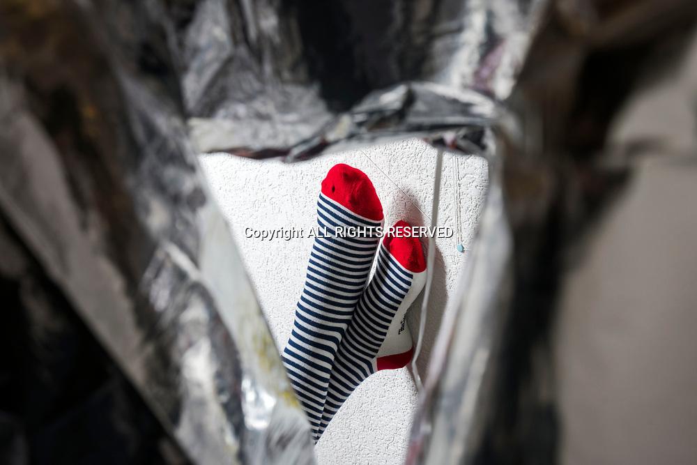 Genève, février 2017. La petite entreprise Sock's factory. Essais de chaussettes. © Olivier Vogelsang
