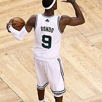 03 June 2012: Boston Celtics point guard Rajon Rondo (9) sets a play during the Boston Celtics 93-91 overtime victory over the Miami Heat, in Game 4 of the Eastern Conference Finals playoff series, at the TD Banknorth Garden, Boston, Massachusetts, USA.