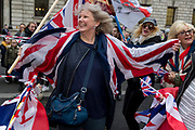 After threee and a half years of political upheavel in the British parliament, Brexiteers celebrate in Westminster on Brexit Day, the day when the UK legally leaves the European Union, on 31st January 2020, in London, England.