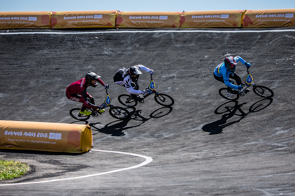 2018 Youth Olympic Games<br /> Buenos Aires, Argentina<br /> Mixed BMX - Race<br /> Motos<br /> RAMIREZ Juan (COL)<br /> CALKIN Cailen (NZL)<br /> GLAZERS Edvards (LAT)