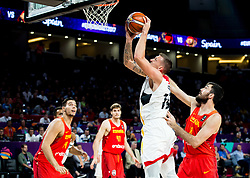 Daniel Theis of Germany vs Pierre Oriola of Spain during basketball match between National Teams of Germany and Spain at Day 13 in Round of 16 of the FIBA EuroBasket 2017 at Sinan Erdem Dome in Istanbul, Turkey on September 12, 2017. Photo by Vid Ponikvar / Sportida