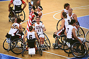 Paralympics Day 9 - Beijing 2008<br /> Victory of the USA team during the final of women's wheelchair basketball<br /> American atheltes are celebrating their victory in the final of Women's wheelchair basketball against Germany, in the National Indoor Stadium. USA took the gold medal by 50 vs 38. Paralympic Games, Beijing , September 15 2008