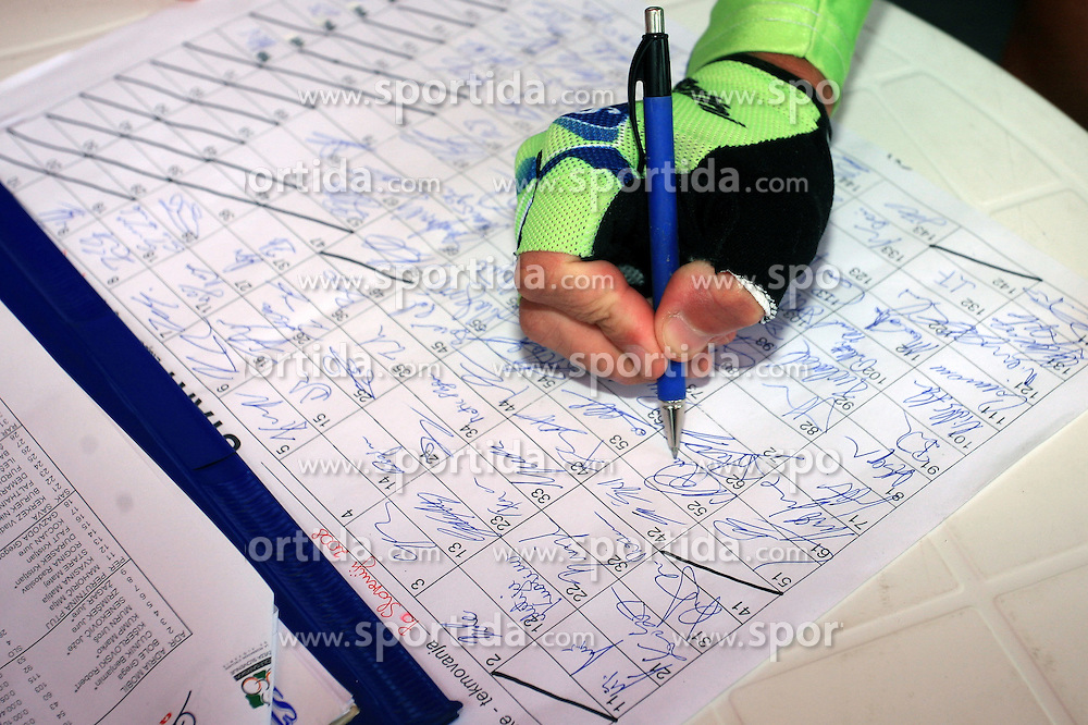 Signing the List of riders before the 3rd stage of the 15th Tour de Slovenie from Skofja Loka to Krvavec (129,5 km), on June 13,2008, Slovenia. (Photo by Vid Ponikvar / Sportal Images)/ Sportida)